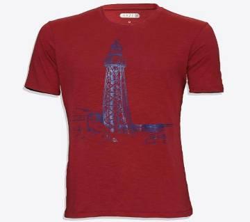 mens half sleeve cotton tshirt for men ( HZ-TS-2007 Dark Red )