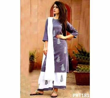Unstitched cotton block three-piece