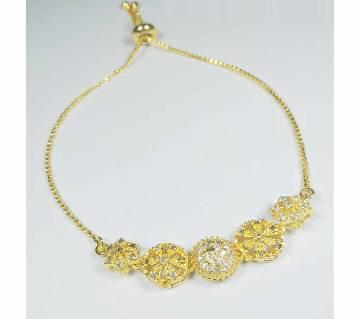Geode Delight Gold Plated American Diamond Floral Design Bracelet for Women & Girls