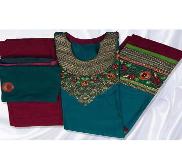 Unstitched Cotton Embroidery three piece