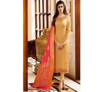 Semi Stitched Silk Three Piece  For Women