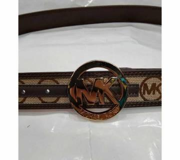 MK belt men canvas x leather beige x brown