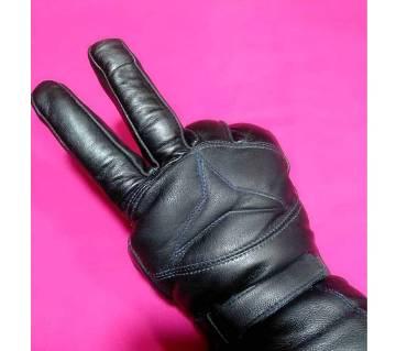 Winter Leather Black Gloves