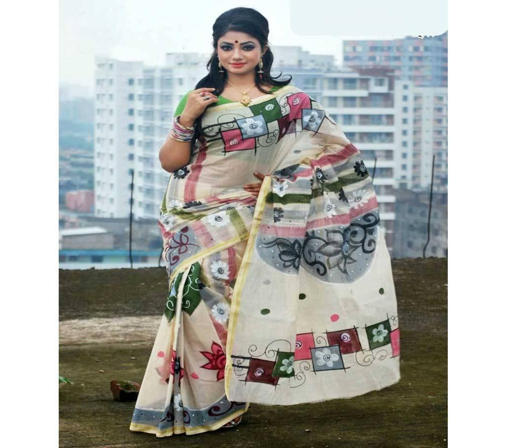 কটন কোটা হ্যান্ডপ্রিন্ট শাড়ী বাংলাদেশ - 908921