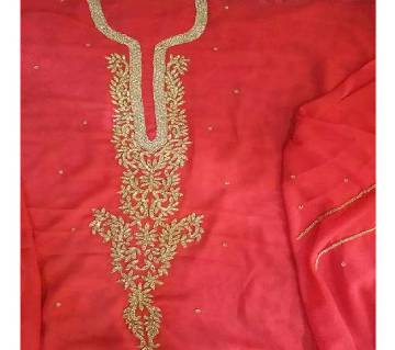Unstitched Georgette Embroidery Work Stone Setting One -Piece