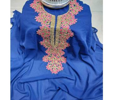 Unstitched Georgette Embroidery Work Kameez