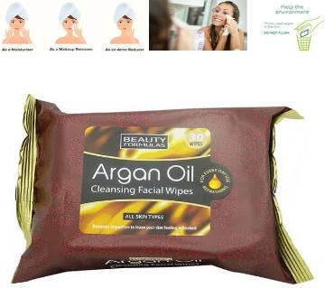 Beauty Formulas Argan অয়েল ফেসিয়াল ওয়াইপস - UK