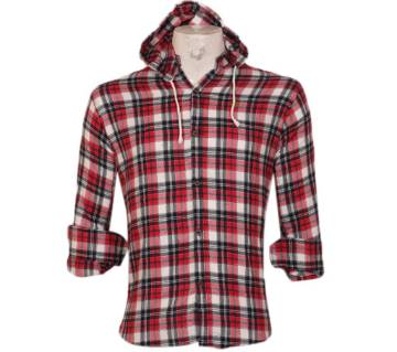 Menz Full Sleeve Check Casual Hooded Shirt