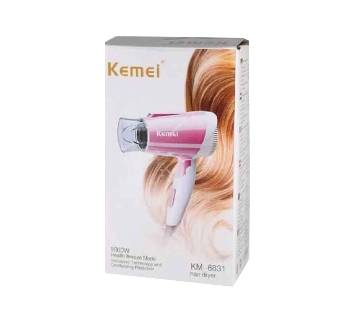 Kemei KM-6831 1600 W Mini Folding Home Travel Hair Dryer Portable Low Noise Electric