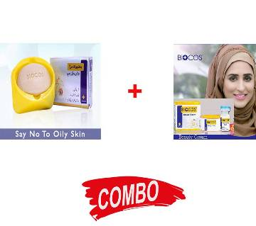 Biocos emergency whitening serum & cream + Biocos Beauty Soap - Combo Offer