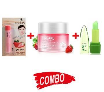LIP ICE PONDS MAGIC LIPSTICK 2g India + Pnf peiyen aloe vera 99 Lipgloss+ BIOAQUA Strawberry Lip Sleeping Mask Exfoliator 20g - Combo Offer