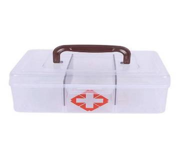 First Aid Clear Container Emergency Medicine Storage Box - White