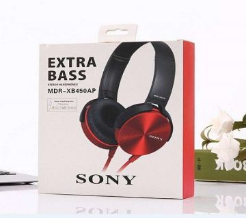 SONY MDR-XB450 Over The Ear Extra Bass Headphone-Black and Red