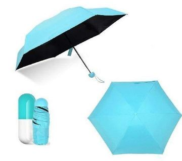 Mini Folding Umbrella with Cute Capsule Case - Sky Blue