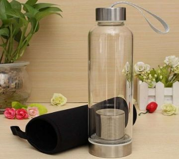 BPA Free Glass Sport Water Bottle with Tea Filter Infuser Protective Bag 550ml