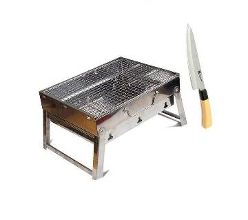 Outdoor Portable BBQ Stove With Knife - Black