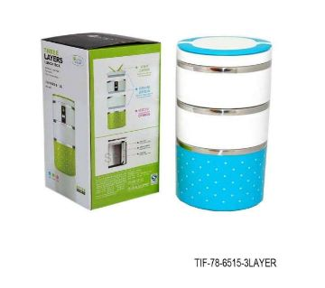 Three Layer Lunch Box - White and Blue