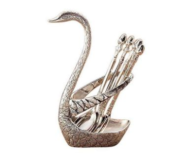 Spoon Set With Swan Stand - Silver