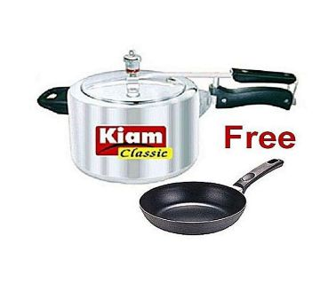 Pressure Cooker - 5.5 L - Silver With Free 14CM Non-Stick Frypan - Black