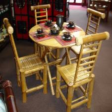 bamboo made dining table with 4 chair