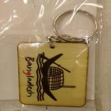 Boat wooded key ring 1 Piece