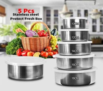 Stainless Steel Food Box 5 Pieces With Food Grade Plastic Cover