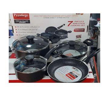 Prestige Omega Granite (Set of 7 Pieces with Sos Pan, korai, fry pan, milk pan ) Induction Bottom Cookware Set (Aluminum)