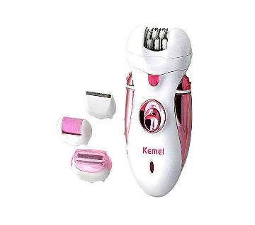 Kemei KM-2530 (4 In 1) Grinding Foot Shaving Device & Lady Shaver - White and Pink