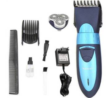 Kemei KM-7392 Exclusive Dual Shaver With Trimmer For Men - Black and Blue