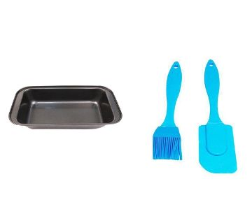 2 Cake Mold And Spatula Brush Combo Pack