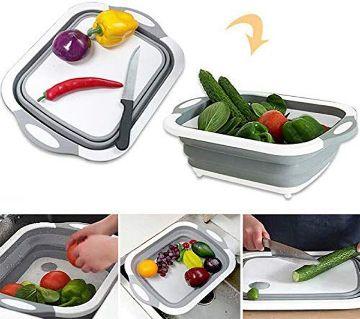 MFTEK Foldable Multifunction Chopping Board, Collapsible Dish Tub Basin Cutting Board Colander, Vegetable Fruit Wash and Drain Sink Storage Basket, S