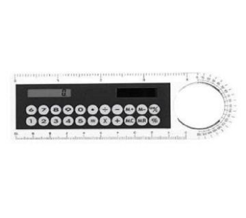 Solar Mini 3 in 1 Rulers Calculator Magnifier Multifunction 10cm Ultra-thin Ruler Calculator Office Stationery