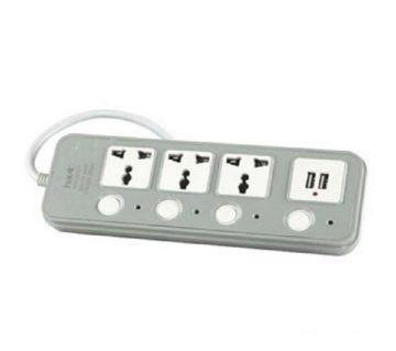 HV-SC01 Power Strip with USB Port Multi Plug  - Light Grey