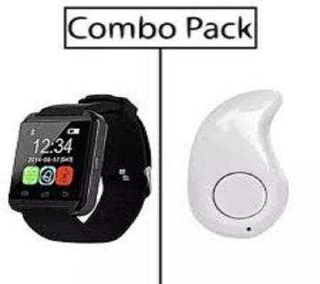 Combo of RX-U8B-HQ সিমলেস ব্লুটুথ স্মার্ট ওয়াচ and S530 Mini Bluetooth Earphone ঘরি