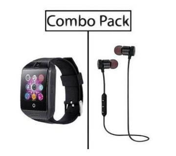 কম্বো Q18 Smart Watch and Stereo Super Bass Wireless Earphone ব্ল্যাক