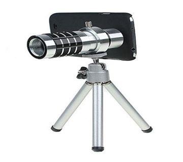 12x Optical Zoom Universal Smartphone Telephoto Telescope লেন্স - Silver সিলভার