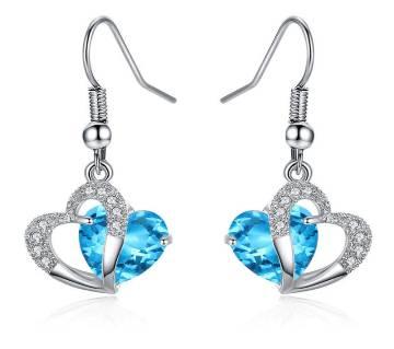 Blue Crystal Zircon Heart Drop ইয়ার রিং
