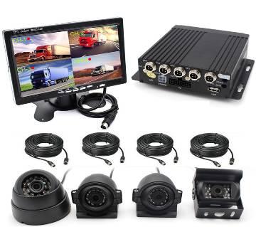 "4CH Car DVR ভিডিও রেকর্ডার বক্স +7"" Car Monitor W/CCD 4X Camera For Truck Van Bus"
