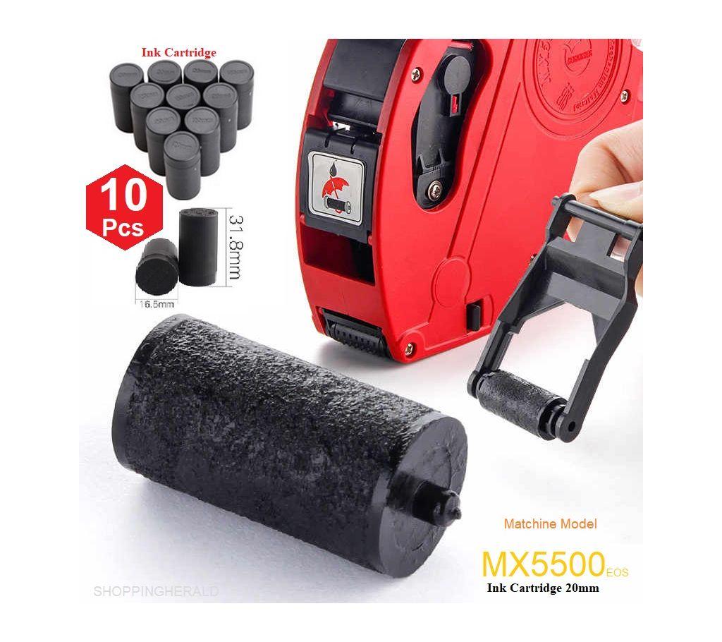 Professional 10 PCS Refill ইংক রোলস কার্ট্রিজ  Cartridge 20mm for MX5500 Price Tag Gun Print Clear Equipment Accessories বাংলাদেশ - 1156569