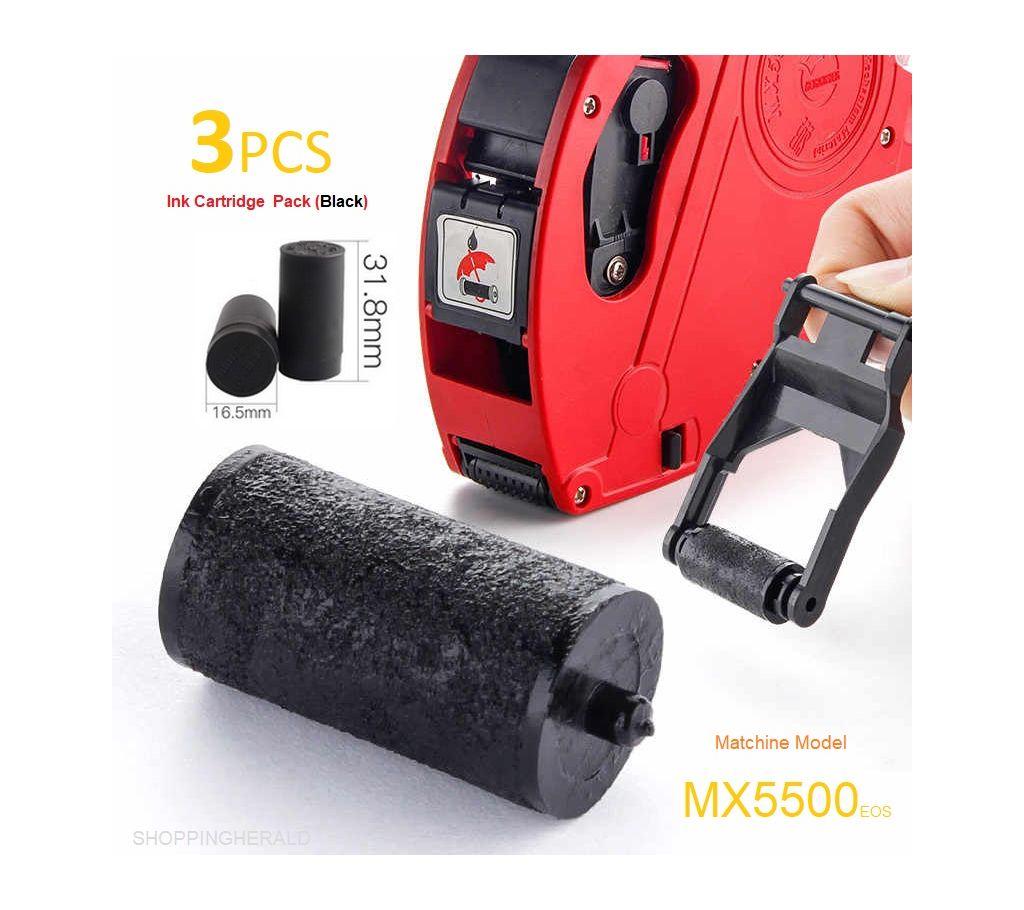 Professional 03 PCS Refill ইংক রোলস কার্ট্রিজ  20mm for MX5500 Price Tag Gun Print Clear Equipment Accessories বাংলাদেশ - 1156570