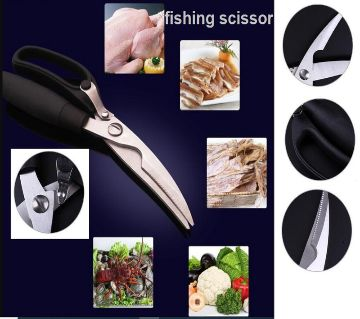Soft-Grip Carbon steel long lasting sharp Stainless Steel Meat  Poultry Shears fish shear fishing scissor