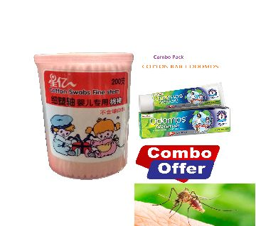 Cotton Swabs and Odomos Mosquito Repellent Cream- 50gram Advanced Protection combo pack-India