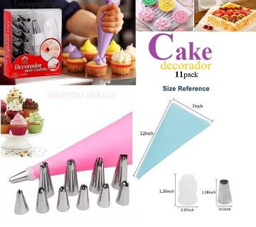 11 Piece Cake Decorating Piping Bag Tips With Nozzles