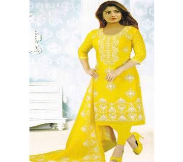 Unstitched Yellow Cotton Salwar Kameez for Women - Copy