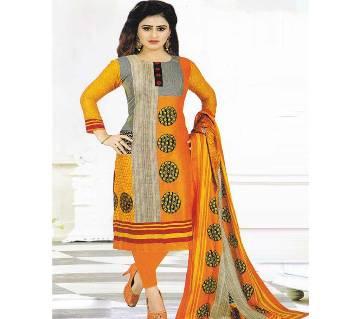 Unstitched Yellow Cotton Shalwar Kameez For Women