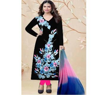 Unstitched Black Cotton Printed Shalwar Kameez for Women