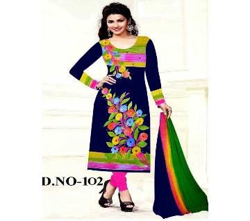 Unstitched Blue Cotton Printed Shalwar Kameez for Women