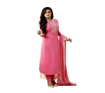 Unstitched Pink Cotton Printed Shalwar Kameez for Women
