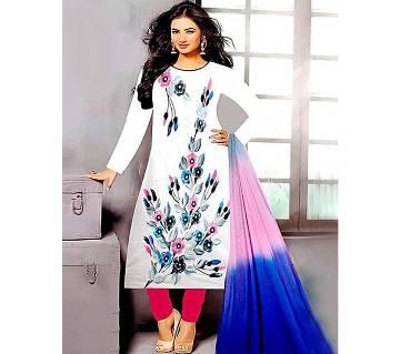 Unstitched White Cotton Printed Shalwar Kameez for Women