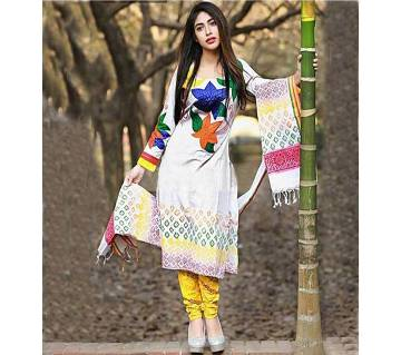 Unstitched White Cotton Embroidery Shalwar Kameez For Women